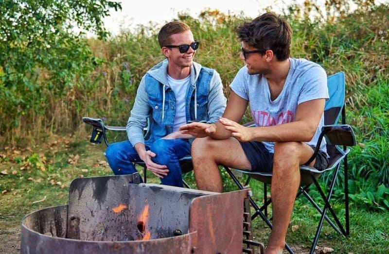 gay couple camping