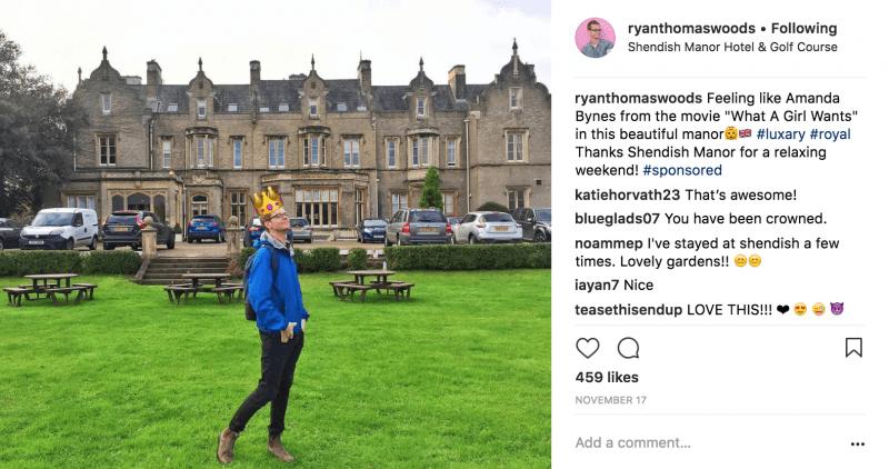 Romantic Weekend at Shendish Manor Instagram