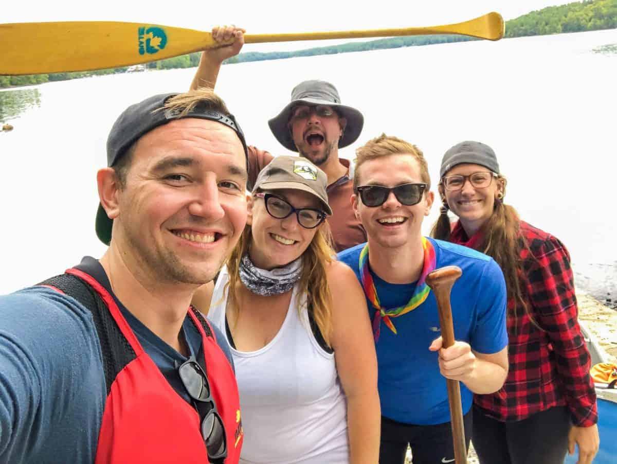 bloggers canoeing in Kawartha Highlands